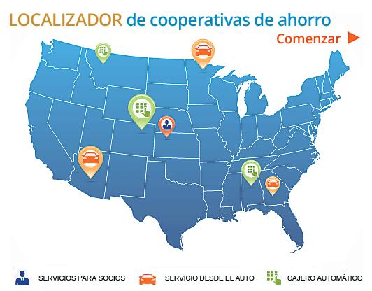 Mapa de EE. UU. con indicadores e íconos de cajeros automáticos con servicio desde el auto y servicio para socios que remite al Localizador.