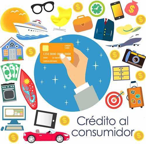 Crédito al consumidor, con una mano tomando una tarjeta de crédito y un collage de varios productos y servicios, lo cual simboliza tomar prestado dinero