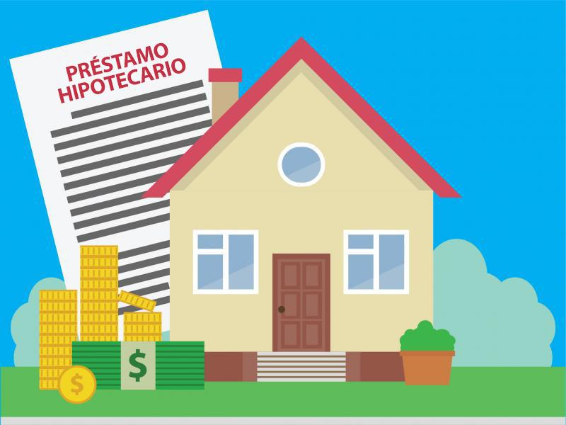 Vivienda con un documento que simboliza varios pagos por la casa